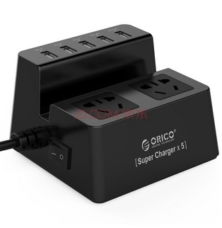 智能5口usb数码充电器 2位插座/插排/插线板/接线板 1.